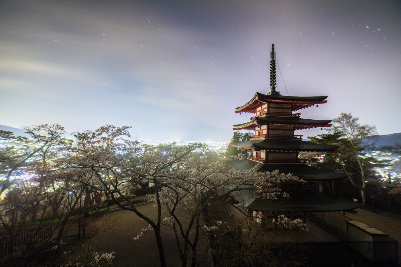 Night View from Chureito Pagoda, Fuji Lake Five Region