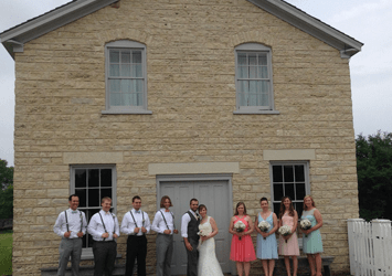 Bridal party outside Old World Wisconsin
