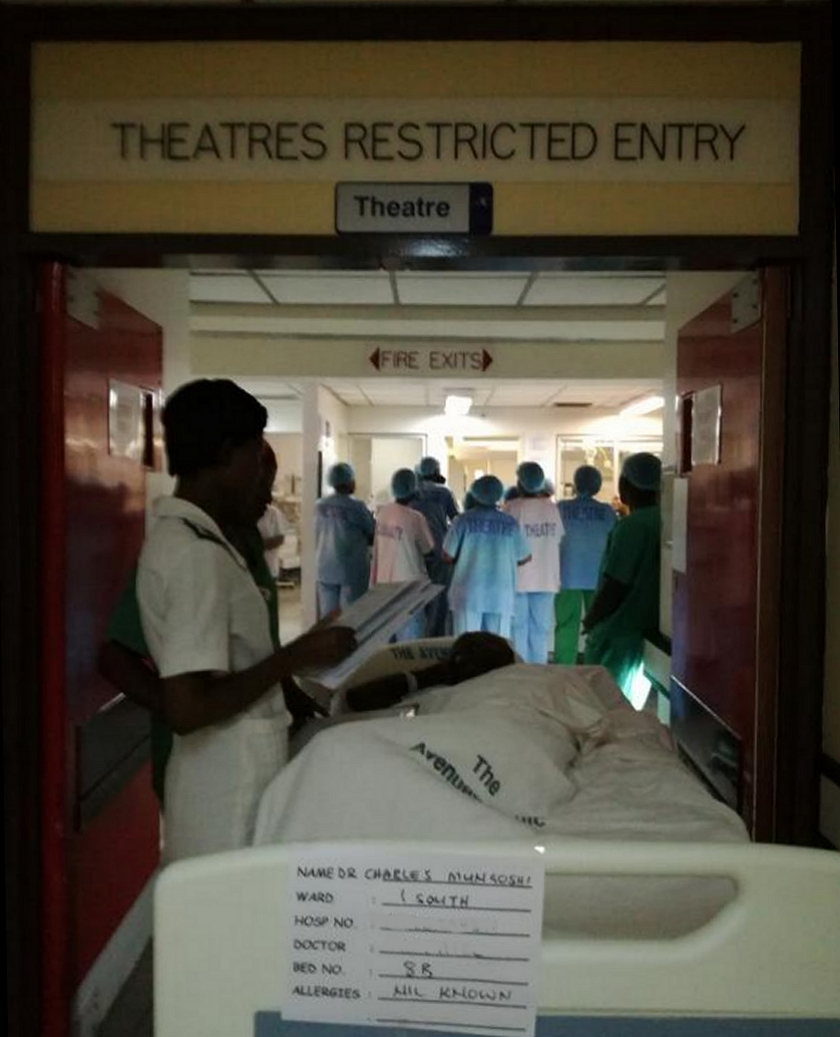 Charles Mungoshi being wheeled into theatre on Thursday, April 13, 2017