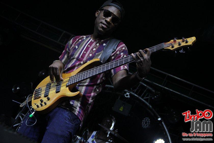 Tinos Trevor Musariri Ammara Brown's bass guitarist captured during their performance at Shoko Festival 2016.