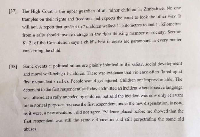 Court ruling bans Zanu Pf from frog-marching pupils