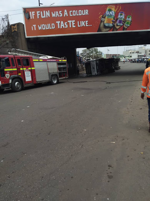 Haulage truck overturns in Harare 'Seke road flyover'