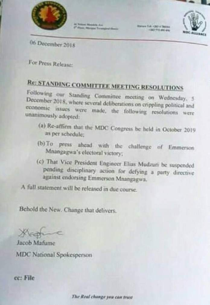 MDC Standing Committee Suspends Mudzuri?