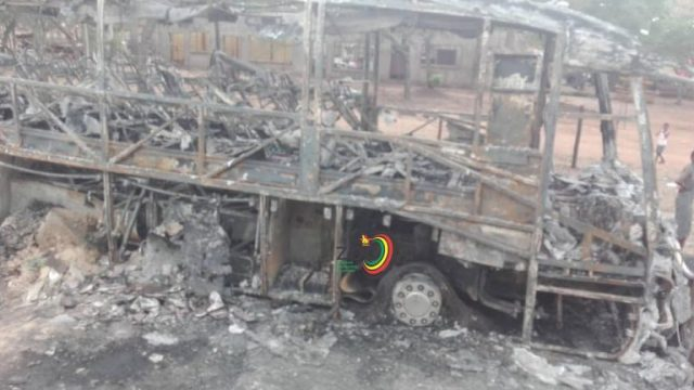 Cross Border 'City Bus' Burnt To Ashes
