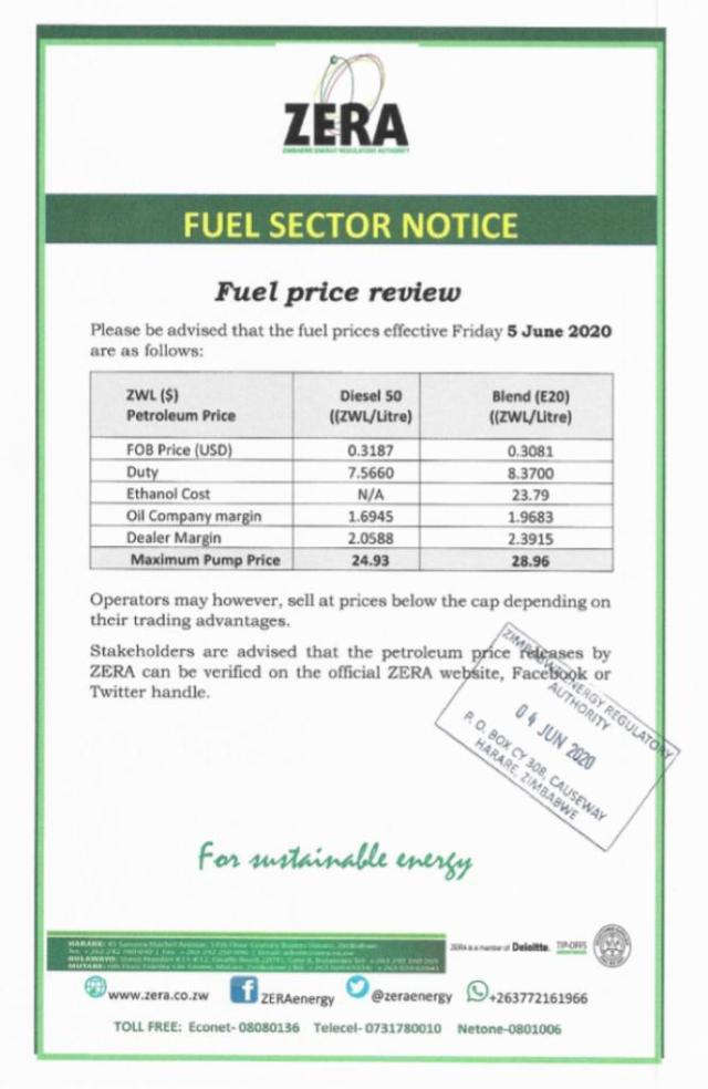 Here Are The New Fuel Prices In Zimbabwe Effective 04 June 2020