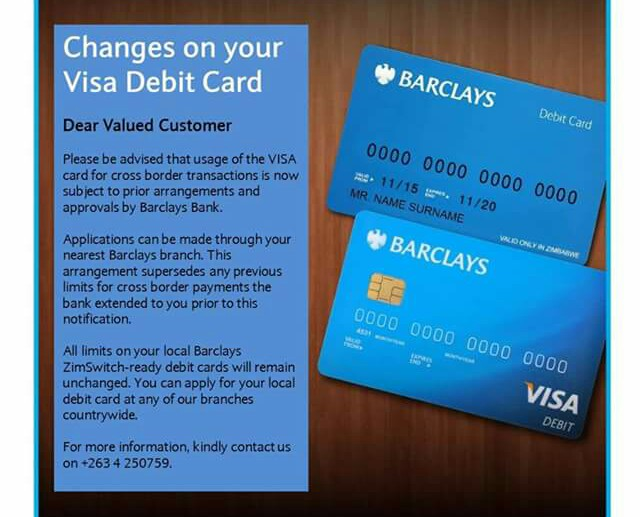 Barclays Bank VISA Restrictions Zimbabwe