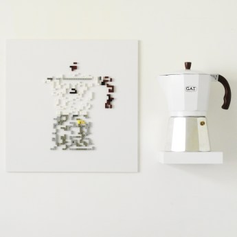 Erosione: Big Coffee, lego su pvc, 60x100cm
