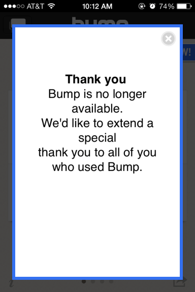 Saying Goodbye to Bump App