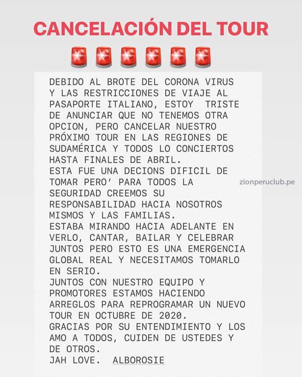 lborosie  ANUNCIA CANCELACIÓN DE TOUR LATINO
