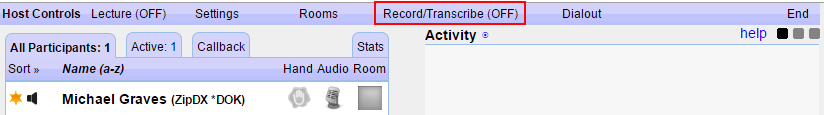 Dashboard Host Controls Call Recording (off)