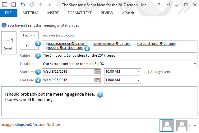 Outlook Meeting Setup Example