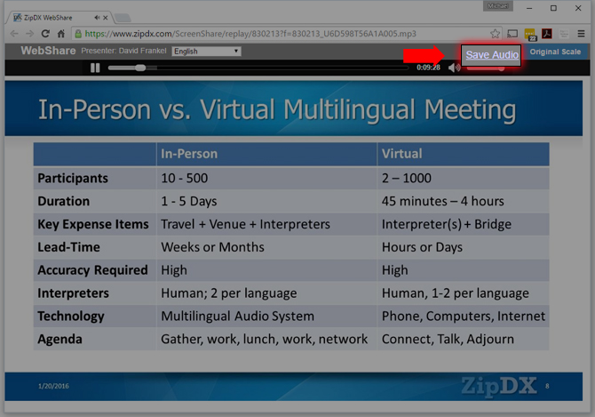 Download Conference Audio Recording as MP3 file