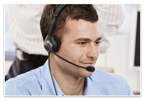 Interpreter wearing a headset