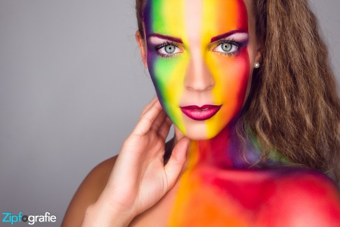 Foto Shooting Regenbogen Extreme Make-up Ringlicht