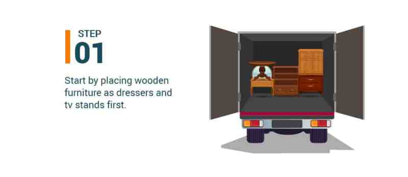 Step #1 Start by placing wooden furniture as dressers and tv stands first.