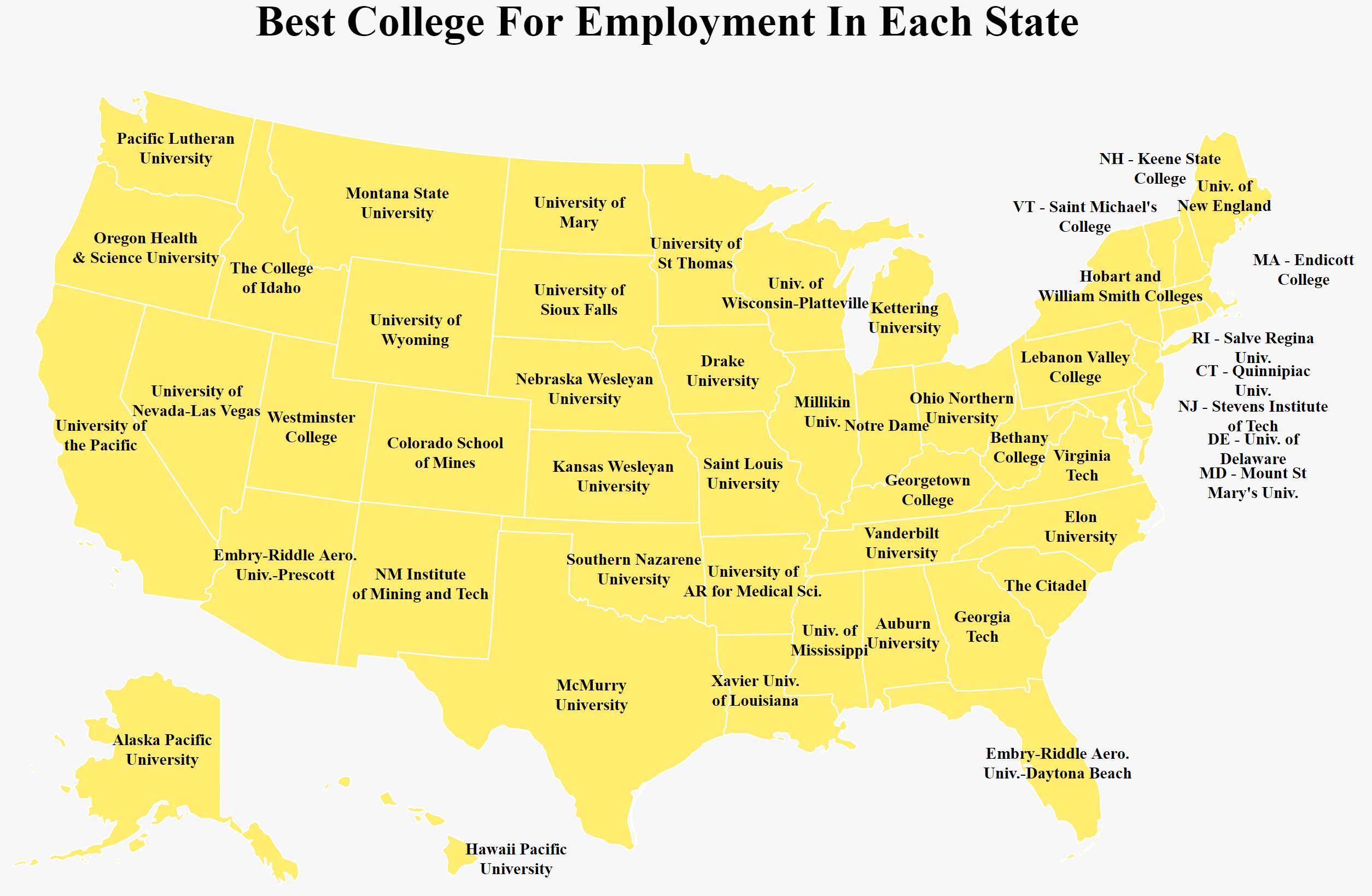 The Best College In Each State For Getting A Job