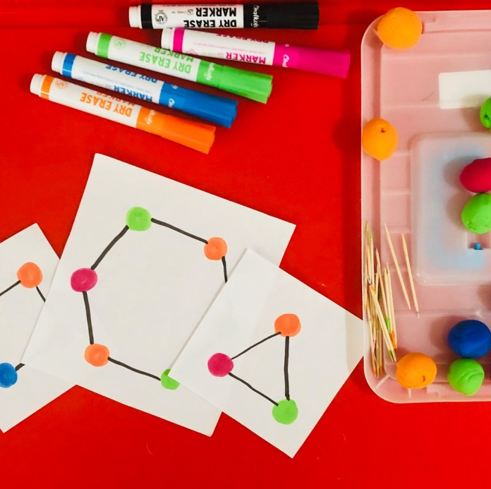 Play-dough sensory activity, shapes with play-dough