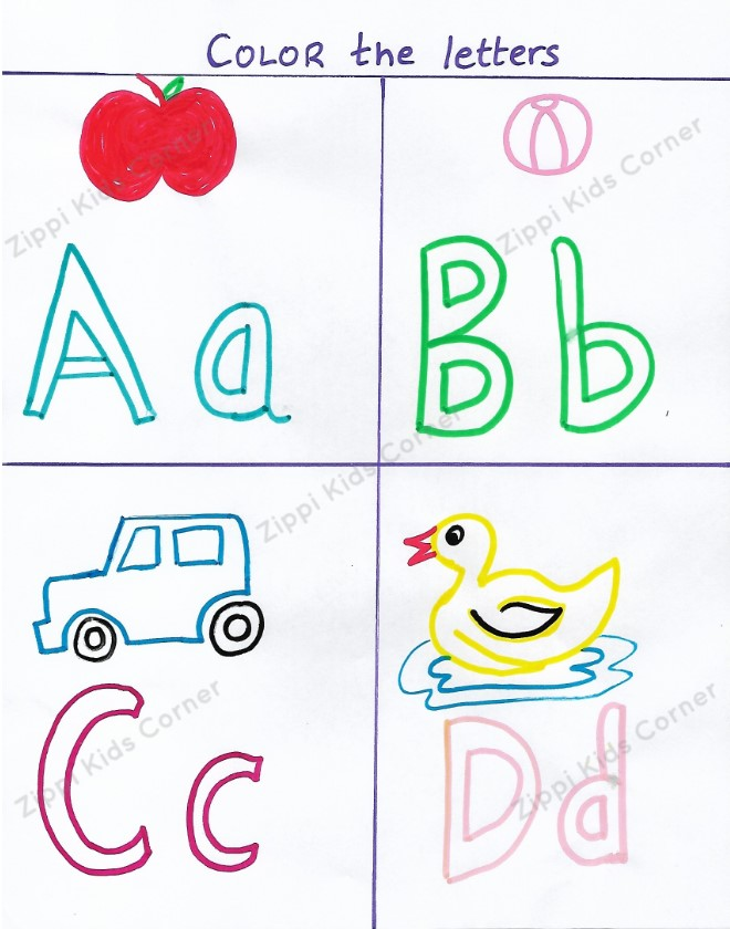DIY Worksheet for Coloring Alphabets for Nursery LKG UKG