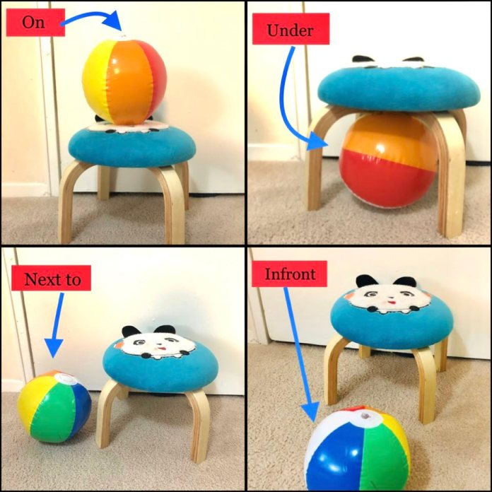 Prepositions activity with ball and table