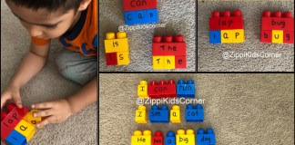 Reading activities for kids with building blocks
