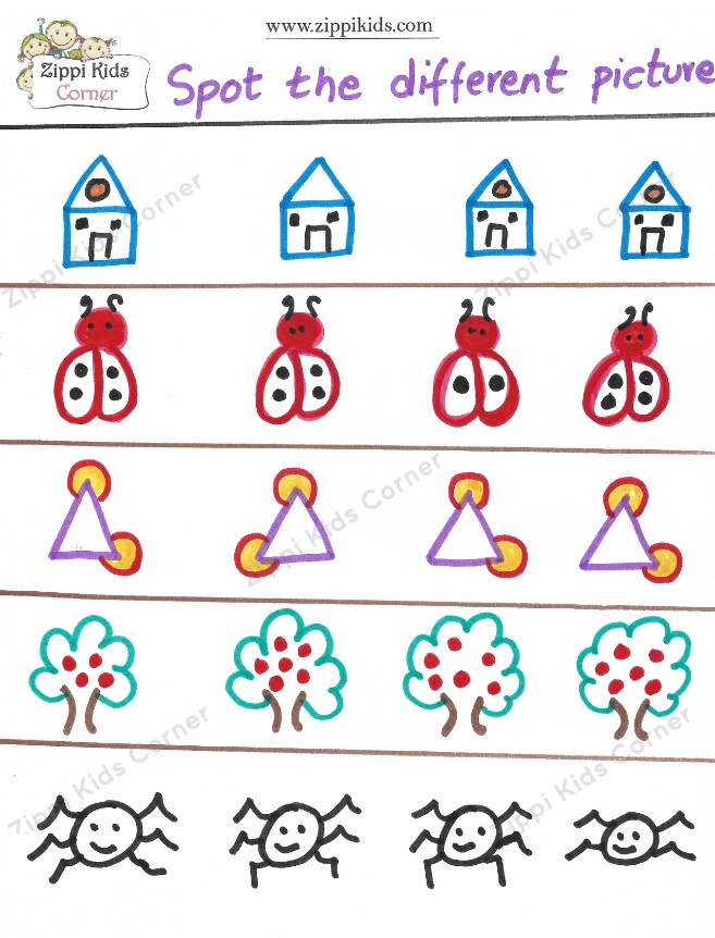 Spot the different object worksheet