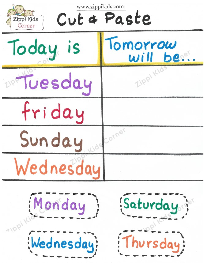 Cut and Paste days of the week worksheets