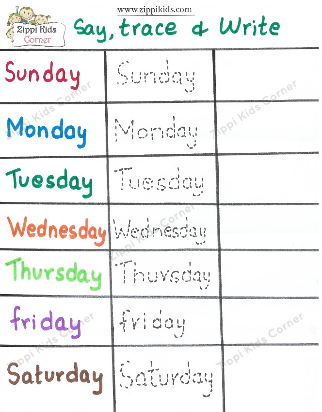 Trace Days of the week worksheet
