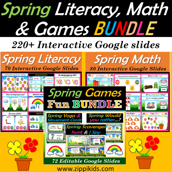 Spring Literacy, Math and Party bundle