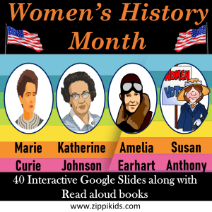 Marie Curie, Amelia Earhart, Katherine Johnson, Susan Anthony