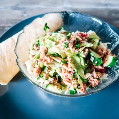 tuna and lettuce in a bowl