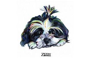 Rainbow Pet Painting of Emma Dog by Amanda Zirzow
