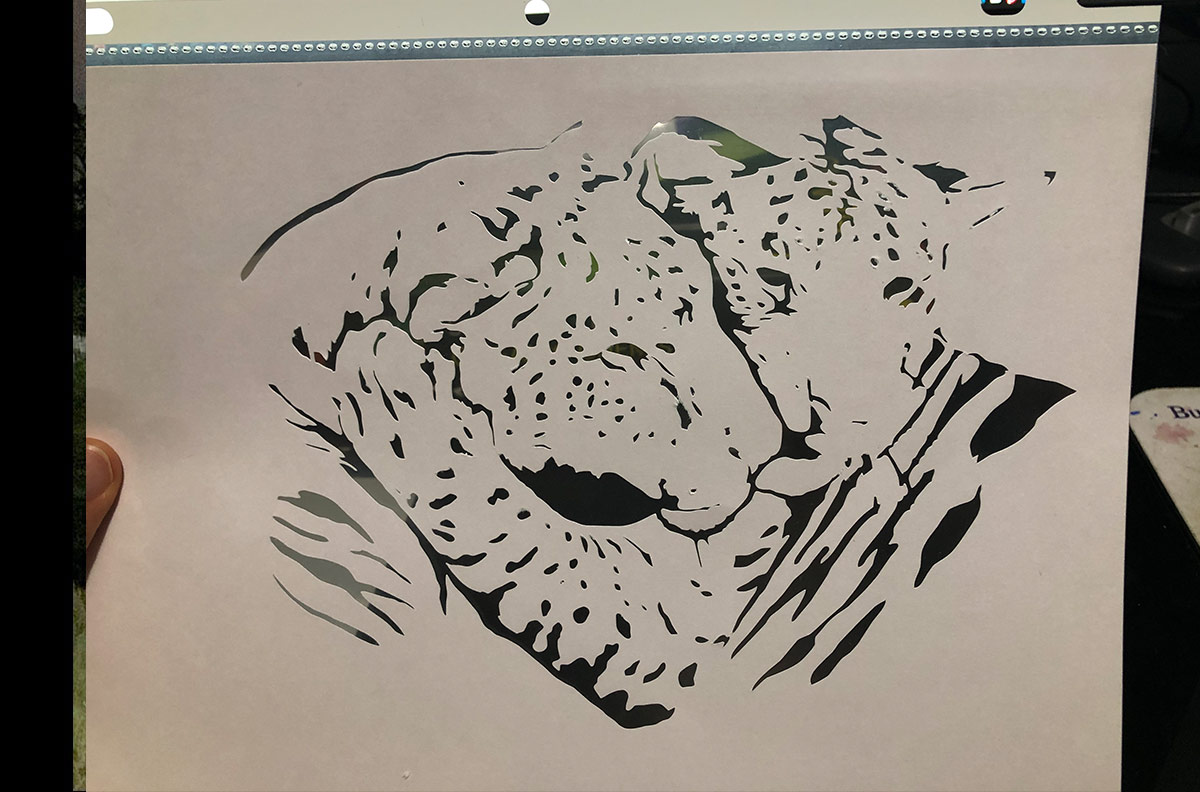 Stencil of Ligers for the Alliance for the Arts Light Projection Mural by Amanda Zirzow