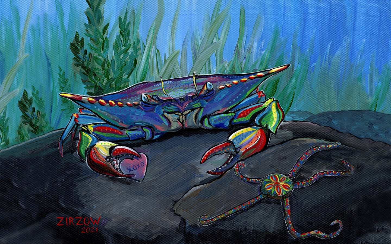 XOXO Crab Desktop Wallpaper
