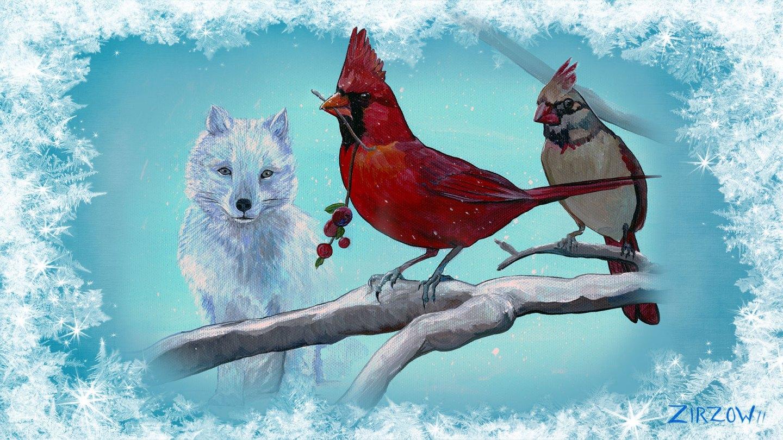 Cardinal and the Fox Desktop Wallpaper FHD