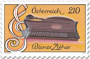 Die Wiener Zither als Briefmarke