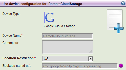 Selecting Google Cloud Storage as a target for backup with ZMC