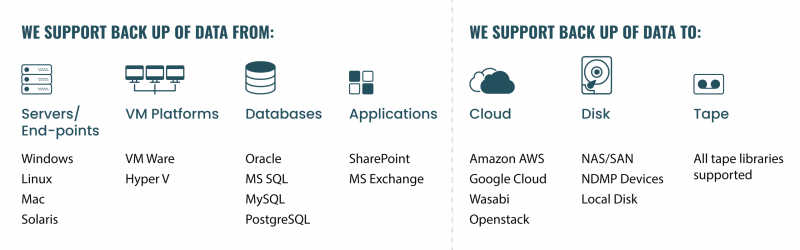 we support backup data from