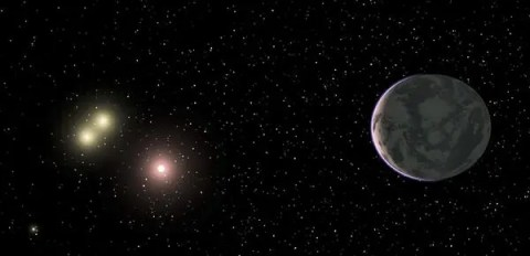 Artist impression of  GJ 667Cc, orbiting around its red dwarf sun, with a stunning binary system in close proximity. (c) Guillem Anglada-Escudé, CIW