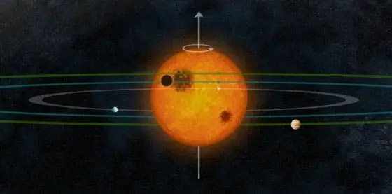 Artist impression of the Kepler-30 solar system, complete with its planets' orbits. (c)  Cristina Sanchis Ojeda
