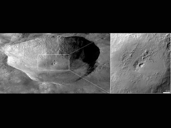 """This perspective view of Marcia crater on the giant asteroid Vesta shows the most spectacularly preserved example of """"pitted terrain,"""" an unexpected discovery in data returned by NASA's Dawn mission. Image credit: NASA/JPL-Caltech/UCLA/MPS/DLR/IDA/JHUAPL"""