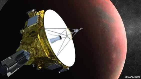 Artist impression of the New Horizons spacecraft set to fly by the Pluto system in July 2015. (c) JHUAPL/SWRI