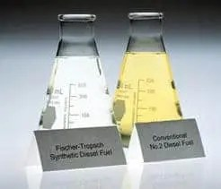 Side-by-side comparison of FT synthetic fuel and conventional fuel. The synthetic fuel is clear as water because of a near-absence of sulfur and aromatics.