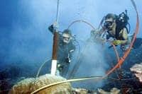 Divers taking a coral core sample. [Via eurekalert.org]