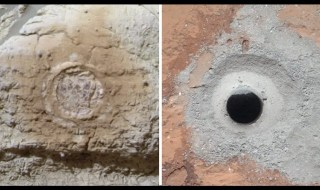 This set of images shows the results from the rock abrasion tool from NASA's Mars Exploration Rover Opportunity (left) and the drill from NASA's Curiosity rover (right). (c) NASA/JPL-Caltech/Cornell/MSSS