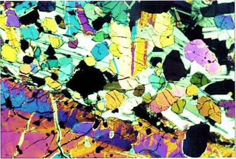 Microphogoraphs of lunar samples, as seen through cross polarized light.