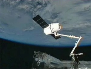 A screencapture of the Dragon docked with the ISS. (c) NASA.tv