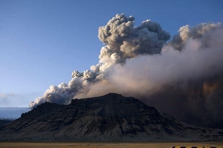 Smoke billows from a volcano in Eyjafjallajokull