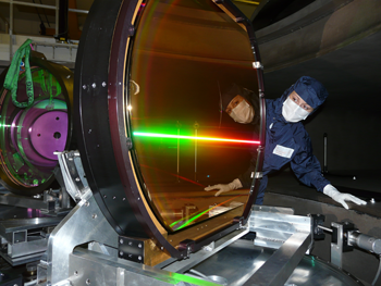 Scientists inspecting the compressor of the Vulcan Petawatt laser.