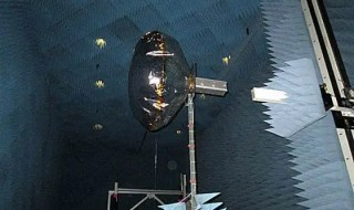 View of a CubeSat equipped with an inflated antenna, in a NASA radiation chamber. PHOTO: ALESSANDRA BABUSCIA
