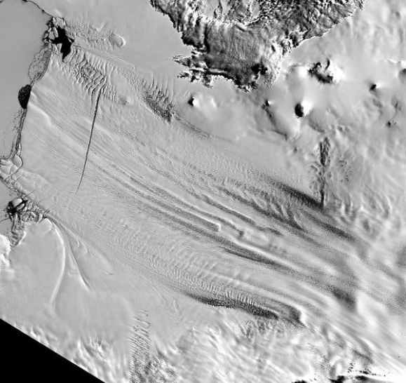 Various measurements have captured the West Antarctic ice sheet changing very rapidly in the region where it flows into the Amundsen Sea. Credit Landsat